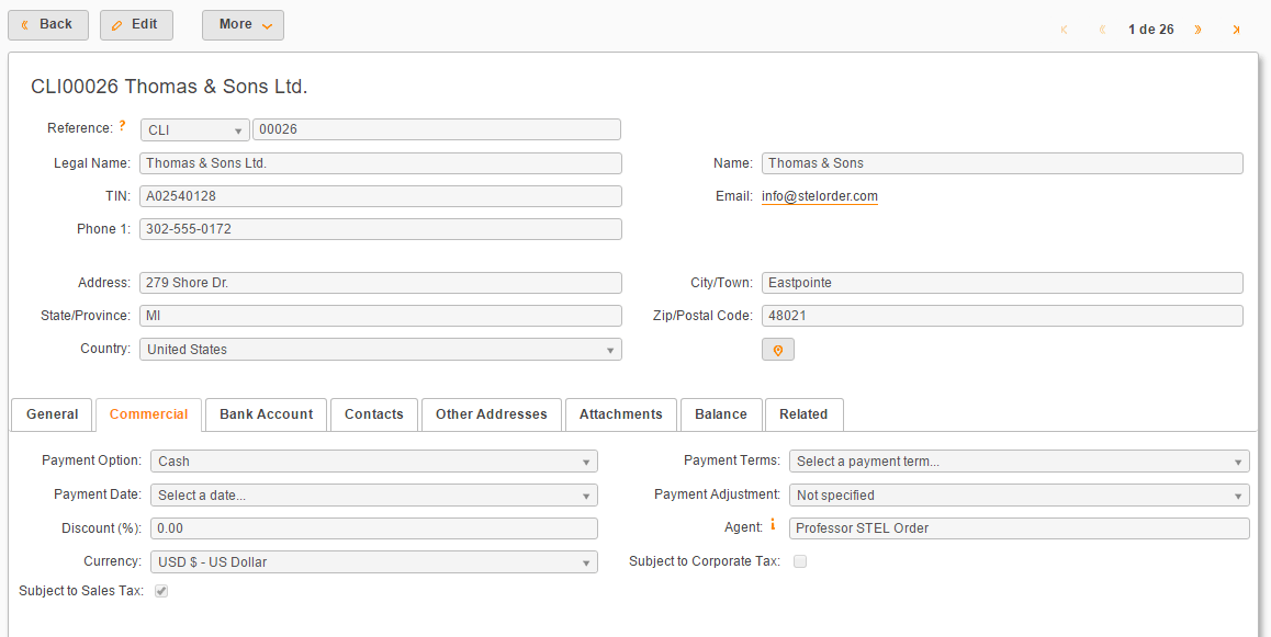edit client information