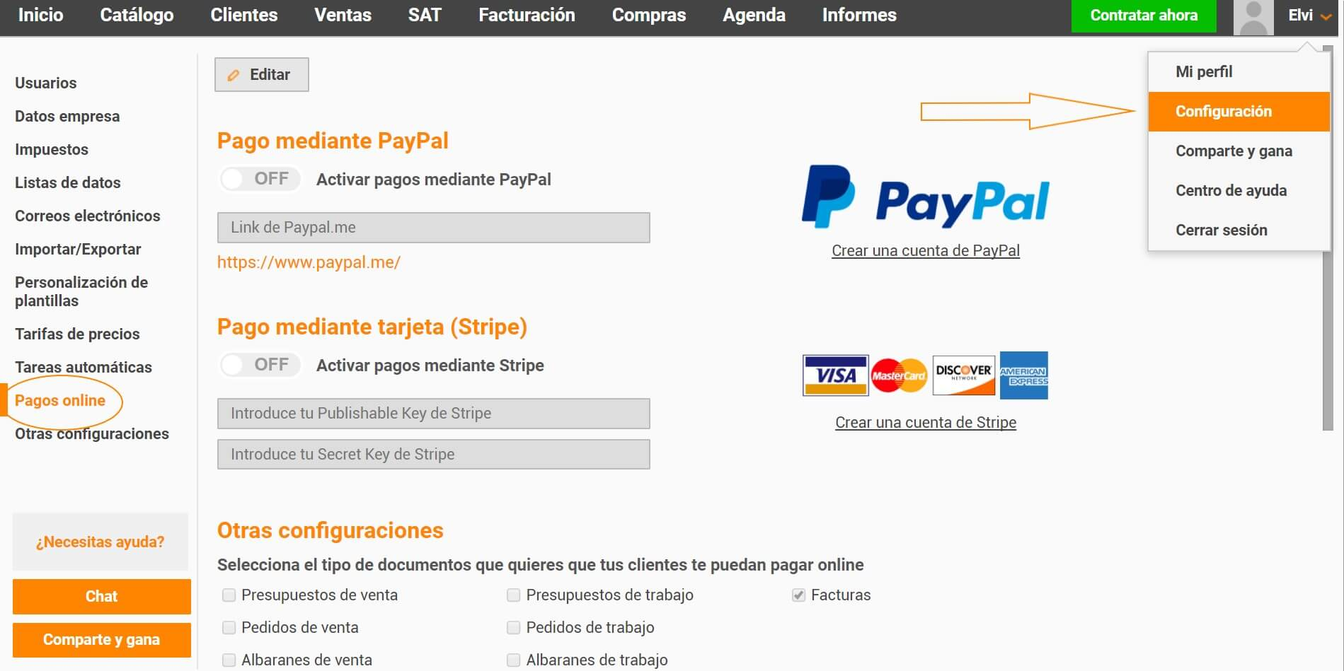 Pagos online desde ERPonline