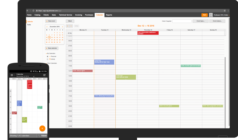 online and mobile calendar