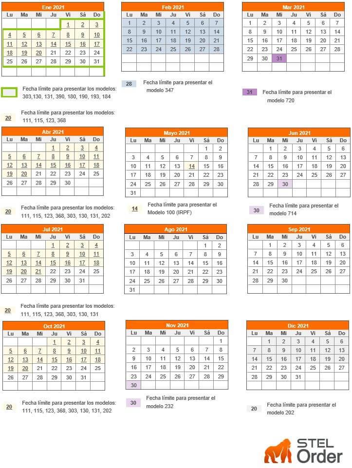 calendario fiscal 2021 para autonomos y empresas