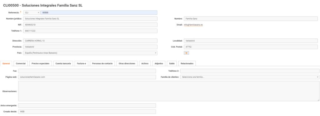 ejemplo de ficha de cliente con datos