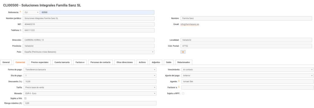 modelo ficha de cliente con datos comerciales