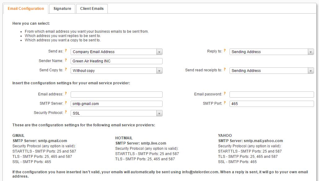 send invoices via email