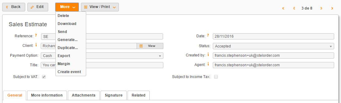 online sales documents